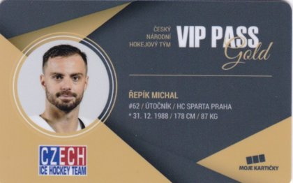 Hokejová karta Michal Řepík Czech Ice Hockey Team 2018 VIP PASS Gold