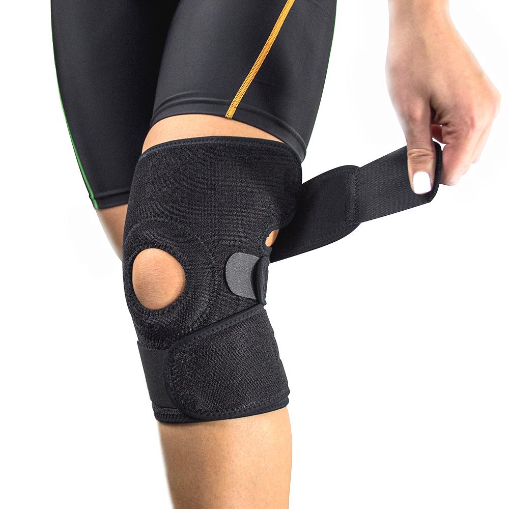 Fixační bandáž na koleno s výztužemi černá