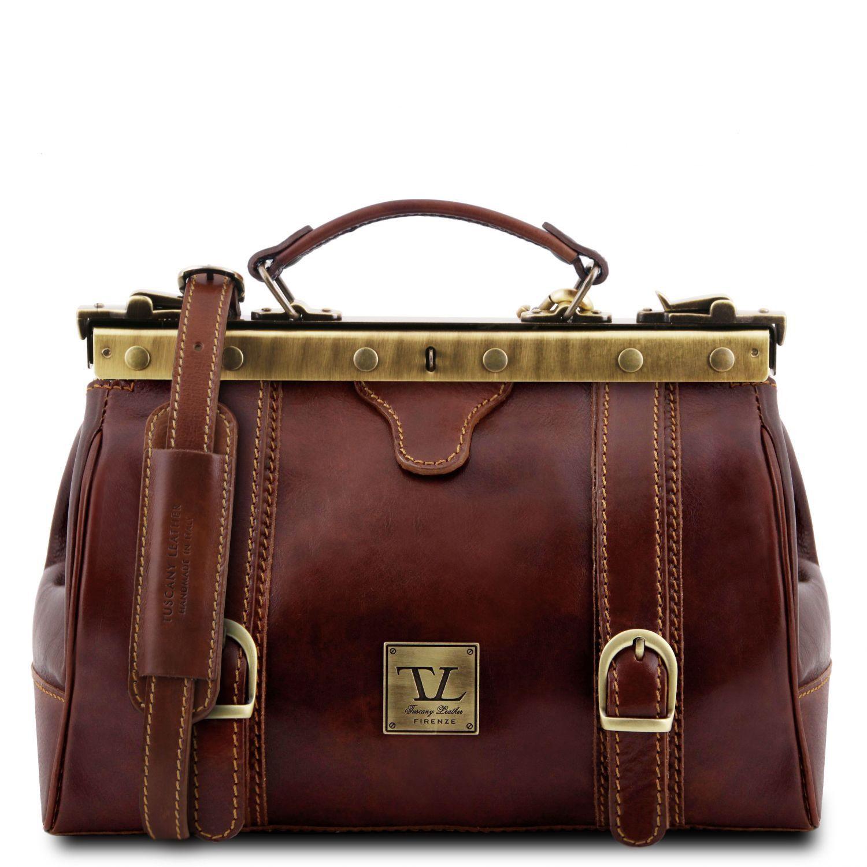 "Monalisa - Kožená doktorská taška ""Gladstone"" - Hnědá barva"