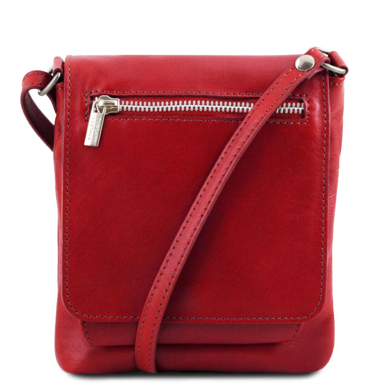 Sasha - Unisex taška přes rameno z měkké kůže - Červená barva