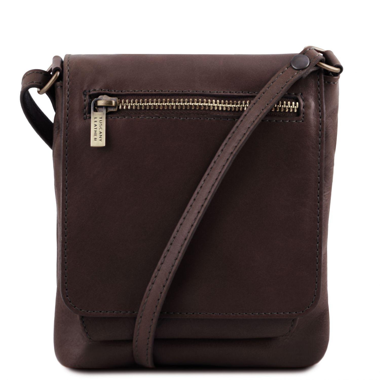 Sasha - Unisex taška přes rameno z měkké kůže - Tmavě hnědá barva
