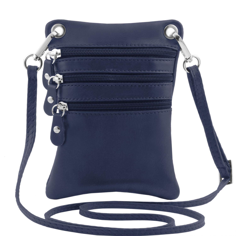 TL Bag - Mini crossbody taška z měkké kůže - Tmavě modrá barva