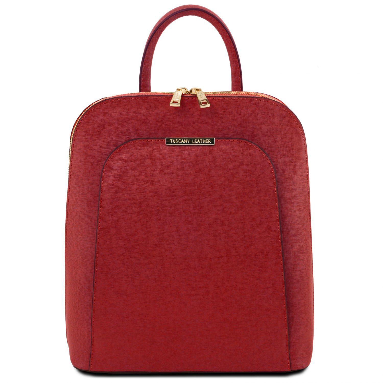TL Bag - Dámský batoh z kůže Saffiano - Červená barva