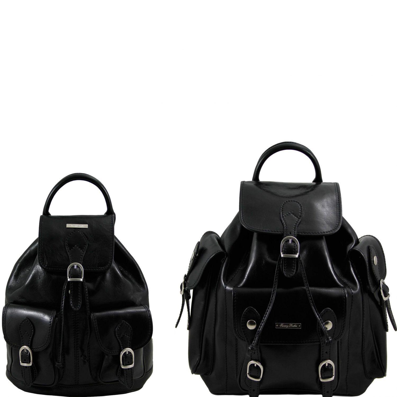 Trekker - Cestovní sada kožených batohů - Černá barva