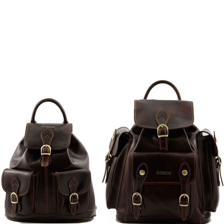 Trekker - Cestovní sada kožených batohů - Tmavě hnědá barva