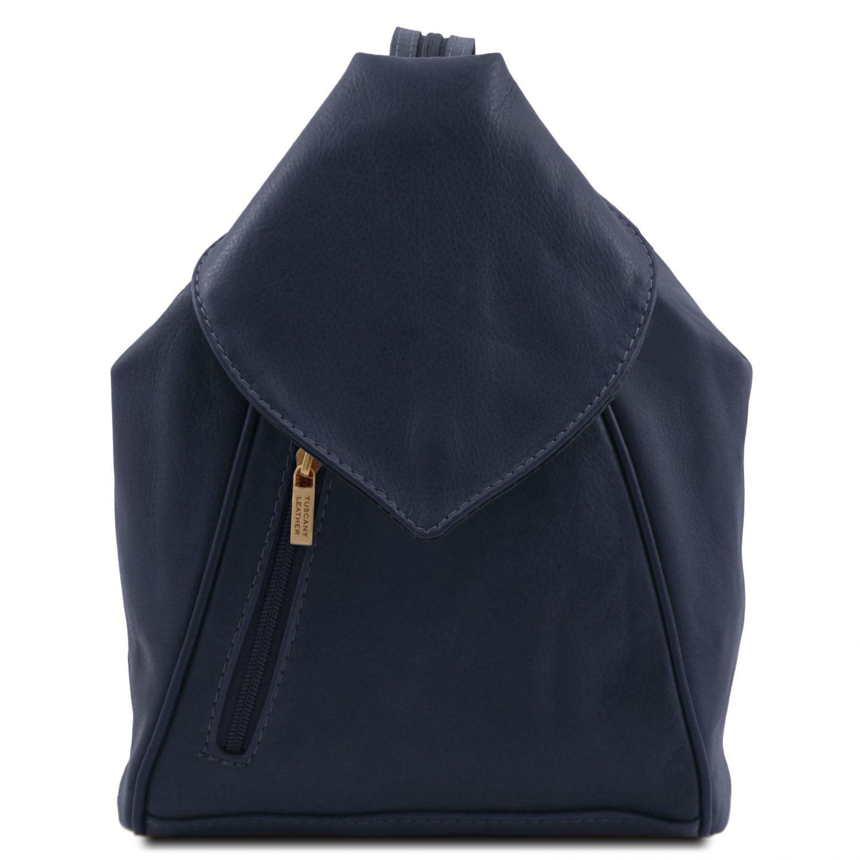 Delhi - Kožený batoh - Tmavě modrá barva
