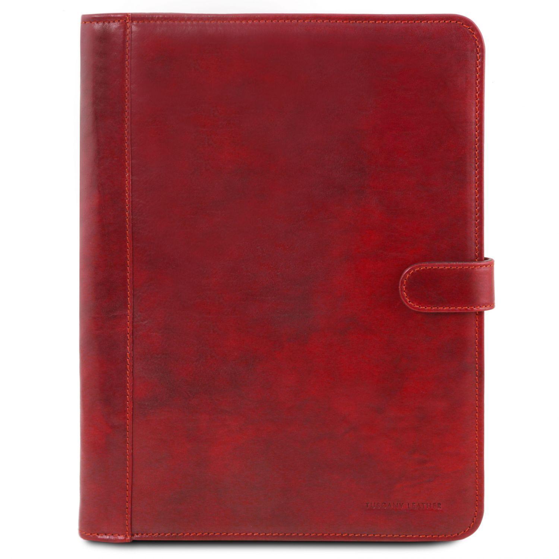 Adriano - Kožené pouzdro na dokumenty se zapínáním - Červená barva