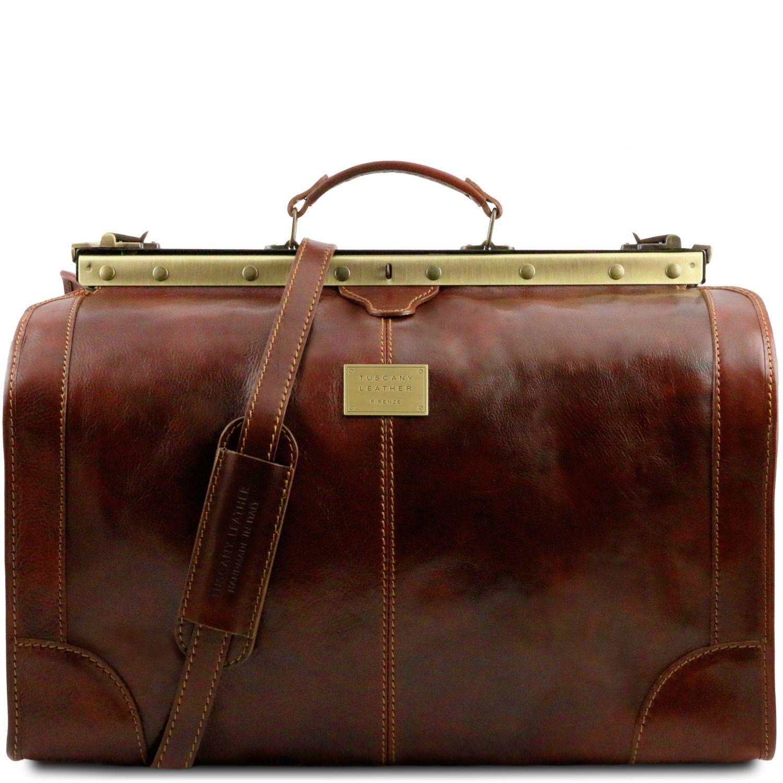 Madrid - Gladstone Leather Bag - Large size - Hnědá barva