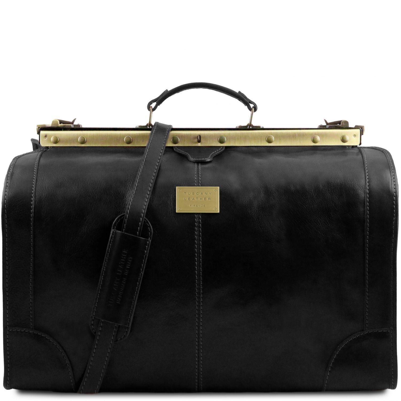Madrid - Gladstone Leather Bag - Large size - Černá barva