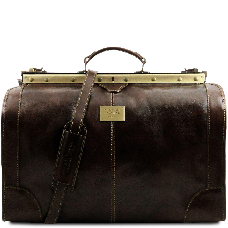 Madrid - Gladstone Leather Bag - Large size - Tmavě hnědá barva