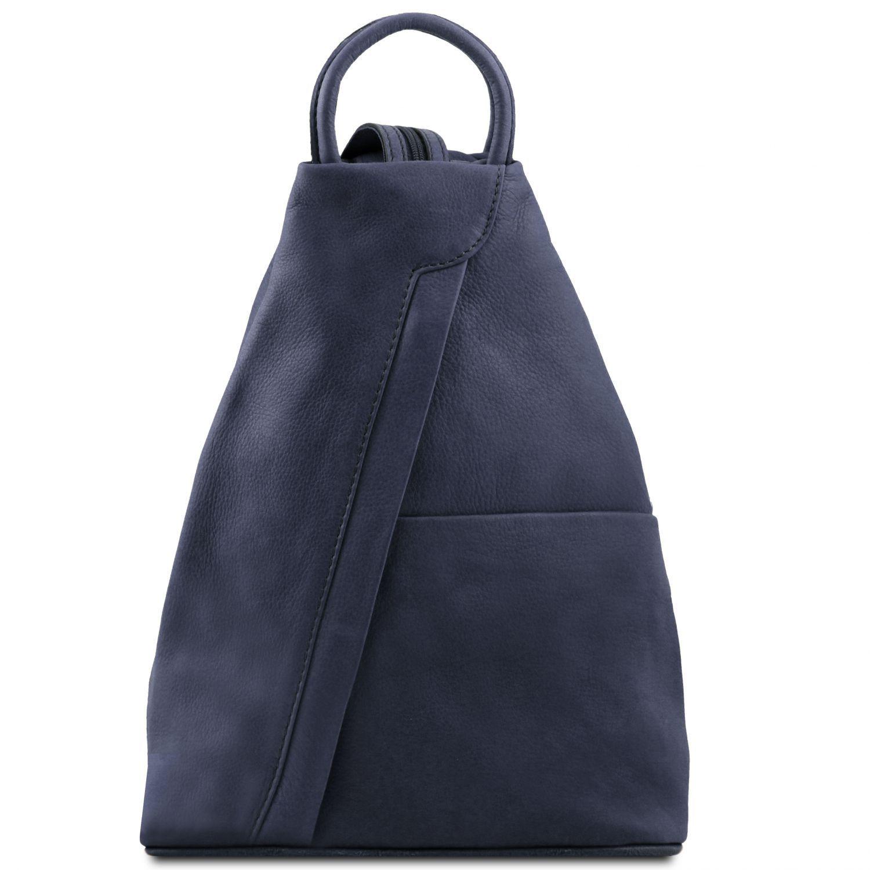Shanghai - Kožený batoh - Tmavě modrá barva