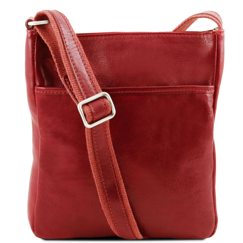 Jason - Kožená crossbody kabelka - Červená barva