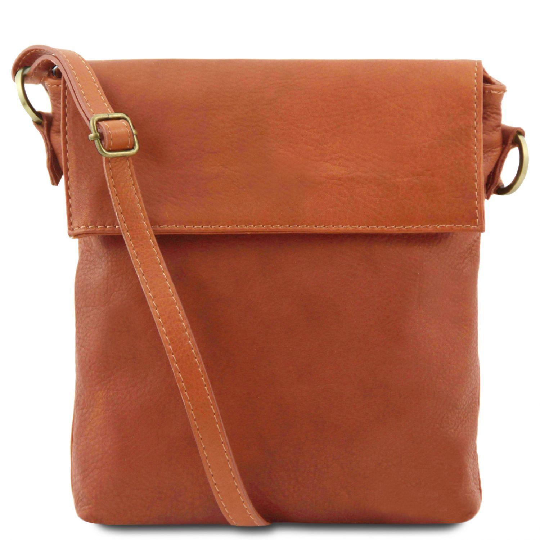 Morgan - Kožená taška přes rameno - Koňaková barva