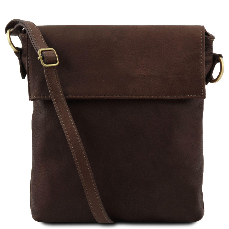Morgan - Kožená taška přes rameno - Tmavě hnědá barva