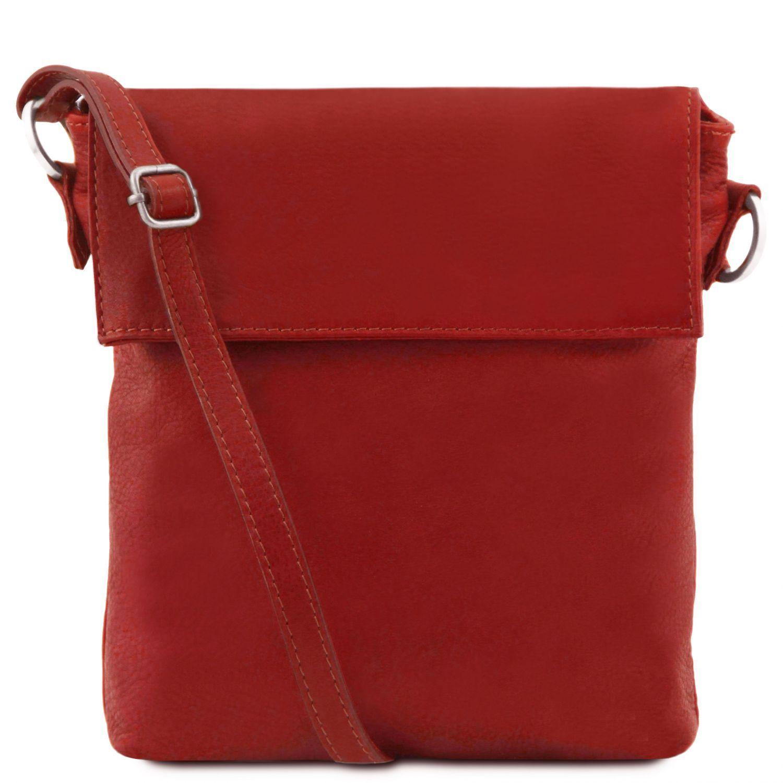 Morgan - Kožená taška přes rameno - Červená barva