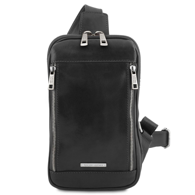 Martin - Kožená crossover taška - Černá barva