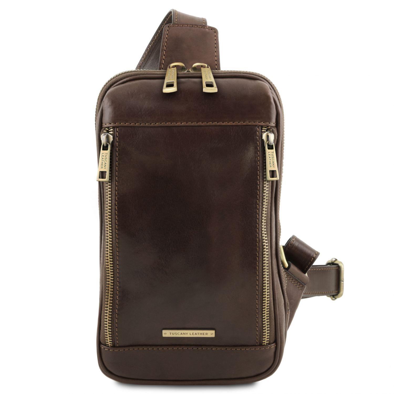 Martin - Kožená crossover taška - Tmavě hnědá barva