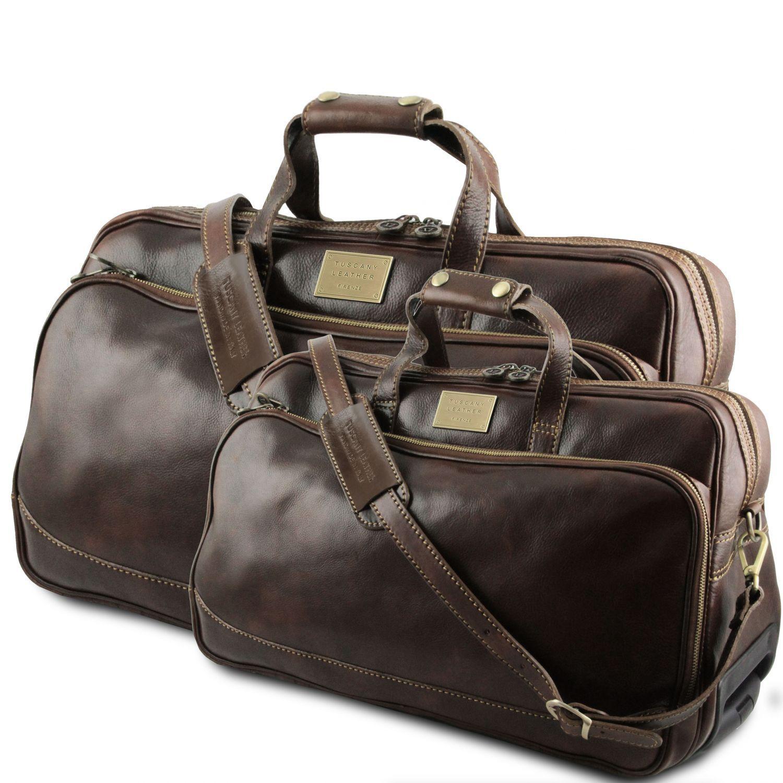 Bora Bora - Cestovní sada kožených kufrů na kolečkách - Tmavě hnědá barva