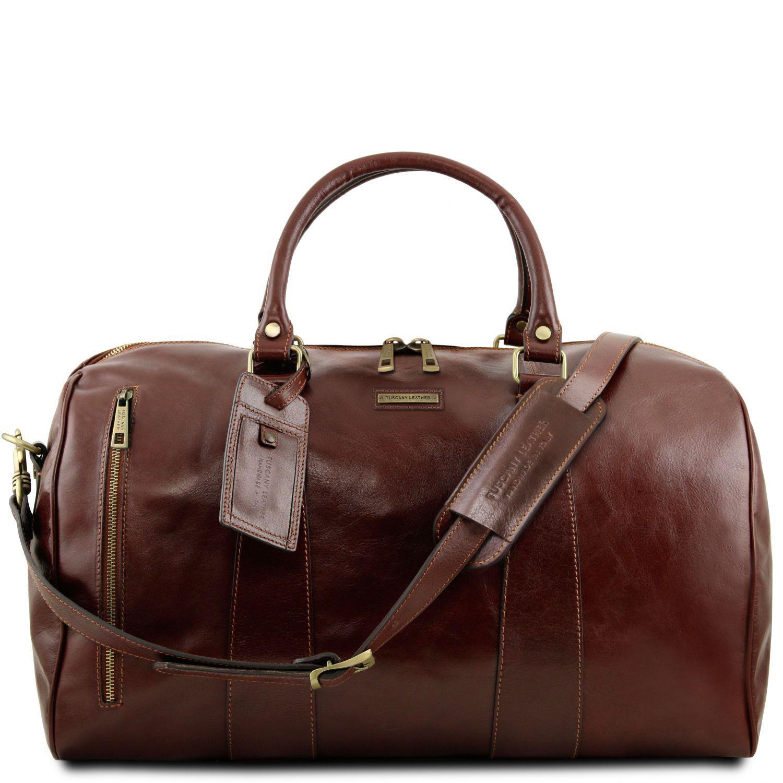 """TL Voyager - Cestovní kožená taška """"duffle"""" - velká - Hnědá barva"""