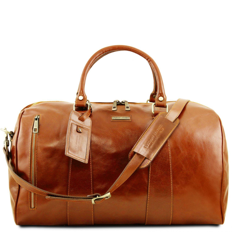 """TL Voyager - Cestovní kožená taška """"duffle"""" - velká - Světle hnědá barva"""