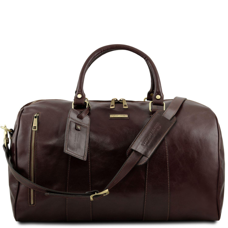 """TL Voyager - Cestovní kožená taška """"duffle"""" - velká - Tmavě hnědá barva"""