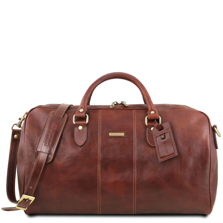 """Lisbona - Cestovní kožená taška """"duffle"""" - velká - Hnědá barva"""