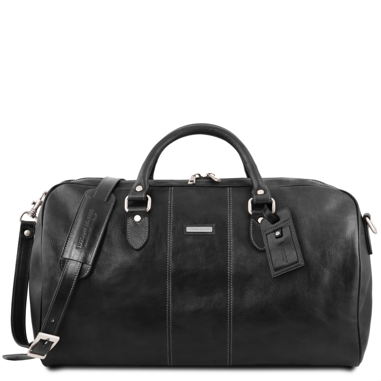 """Lisbona - Cestovní kožená taška """"duffle"""" - velká - Černá barva"""