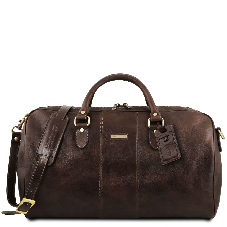 """Lisbona - Cestovní kožená taška """"duffle"""" - velká - Tmavě hnědá barva"""