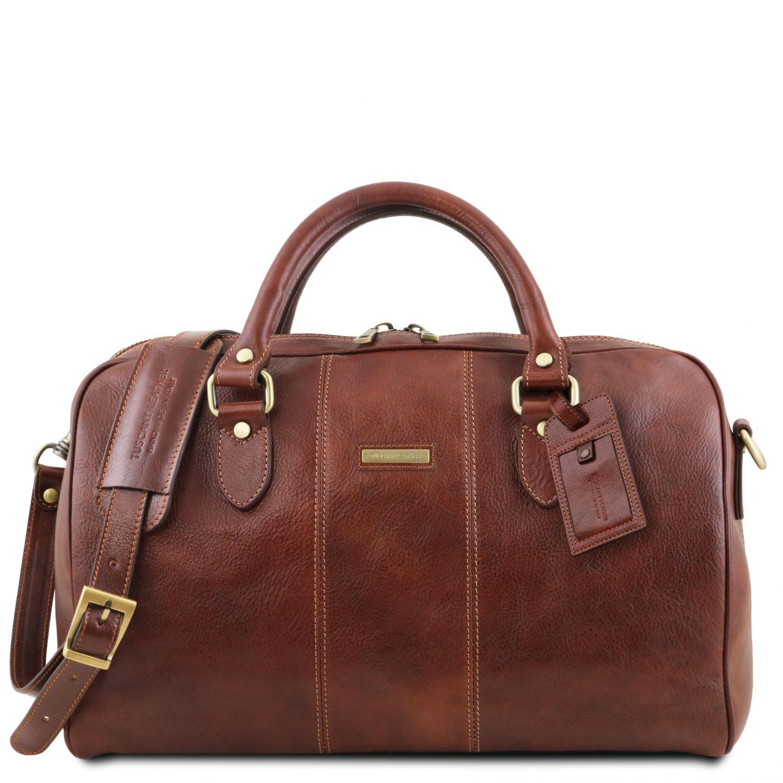 """Lisbona - Cestovní kožená taška """"duffle"""" - malá - Hnědá barva"""