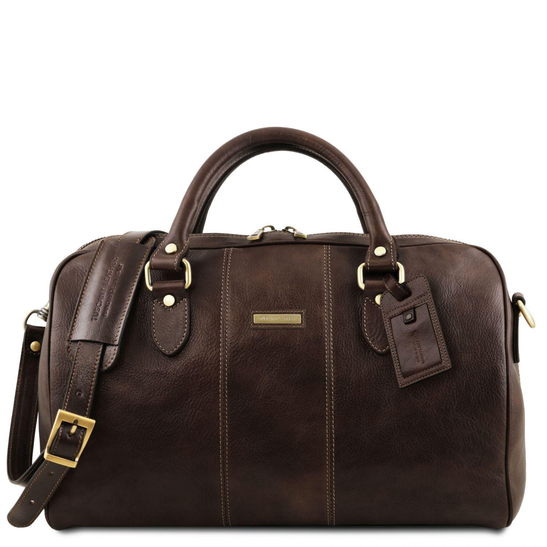 """Lisbona - Cestovní kožená taška """"duffle"""" - malá - Tmavě hnědá barva"""