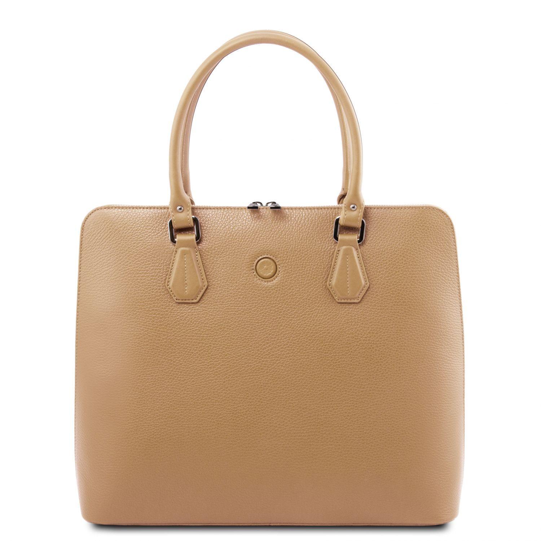Magnolia - Kožená dámská obchodní taška - Starorůžová barva