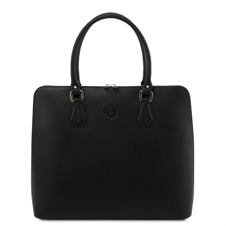 Magnolia - Kožená dámská obchodní taška - Černá barva
