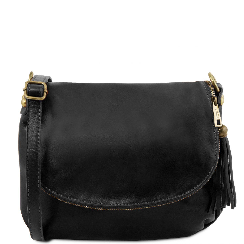 TL Bag - Taška přes rameno z měkké kůže se střapcem - Černá barva