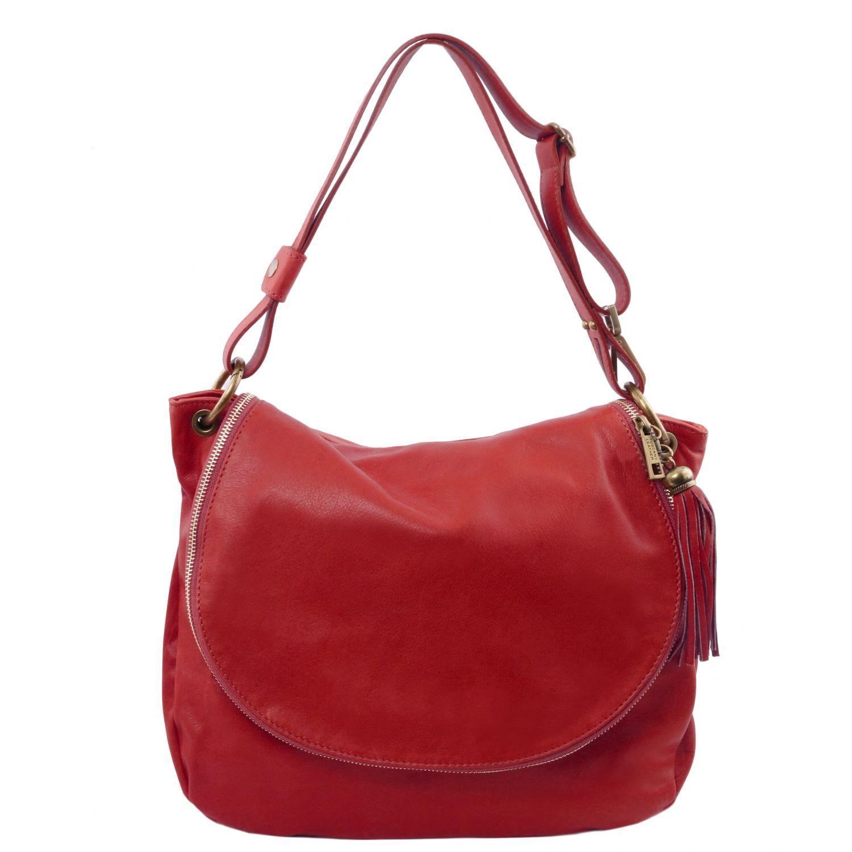 TL Bag - Taška přes rameno z měkké kůže se střapcem - Červená barva