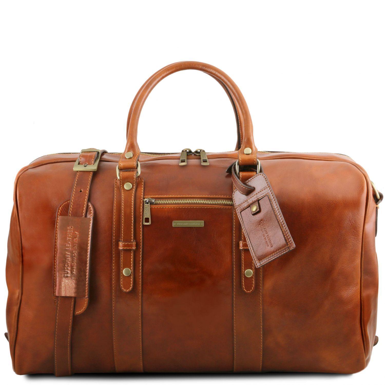 TL Voyager - Kožená cestovní taška s přední kapsou - Světle hnědá barva