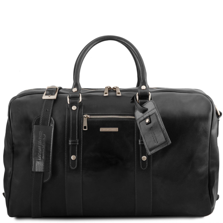 TL Voyager - Kožená cestovní taška s přední kapsou - Černá barva