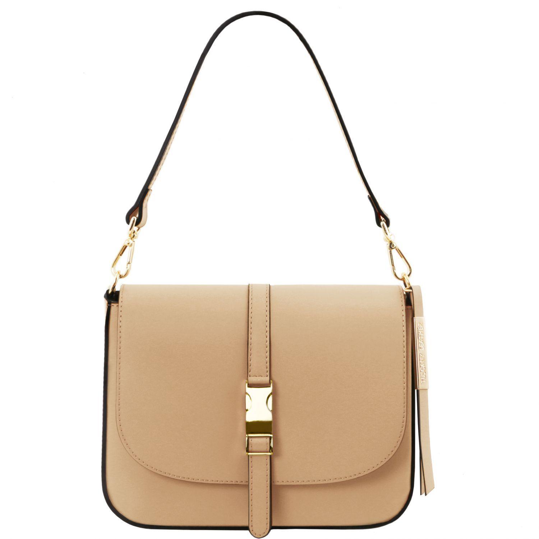 Nausica - Kožená taška přes rameno - Starorůžová barva