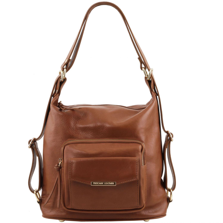 TL Bag - Kožená variabilní taška s kombinovaným nošením - Skořicová barva
