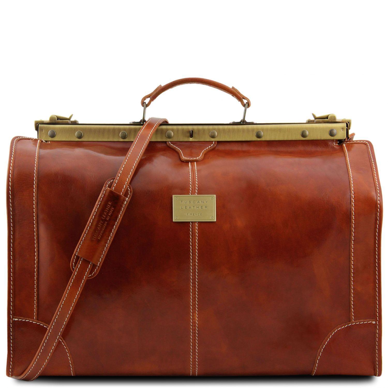 Madrid - Gladstone Leather Bag - Large size - Světle hnědá barva