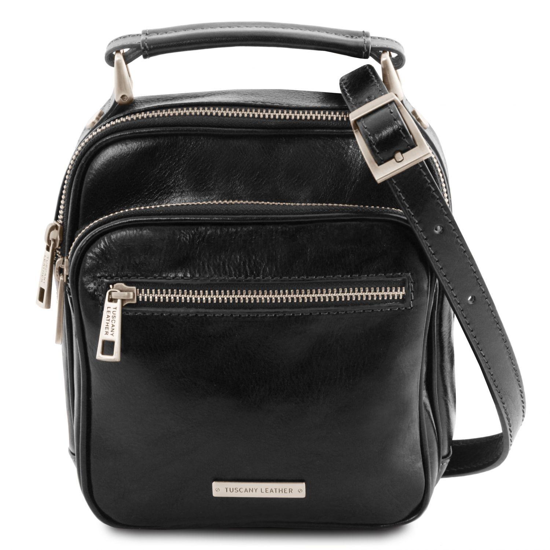 Paul - Kožená crossbody kabelka - Černá barva