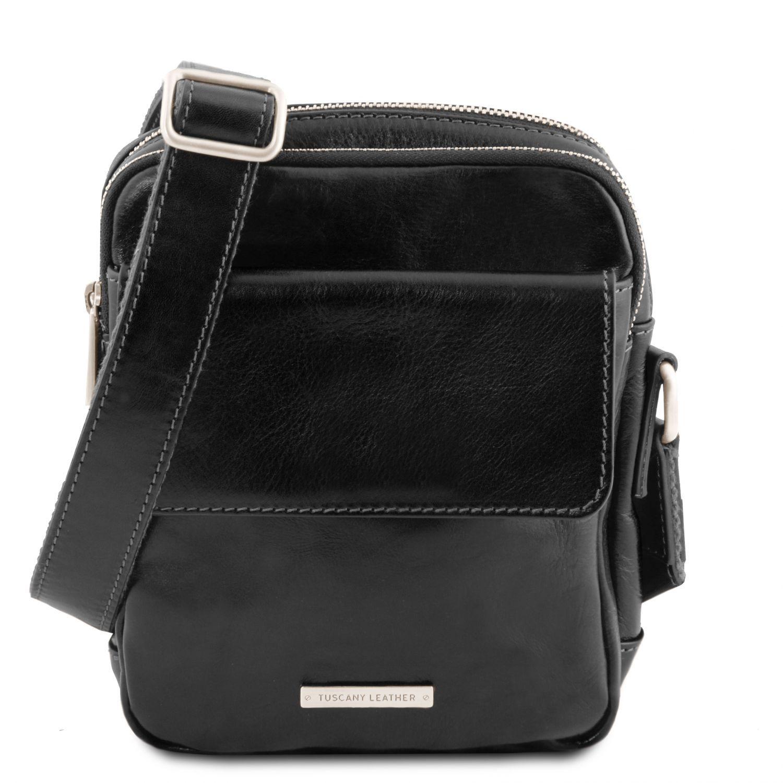 Larry - Kožená crossbody kabelka - Černá barva