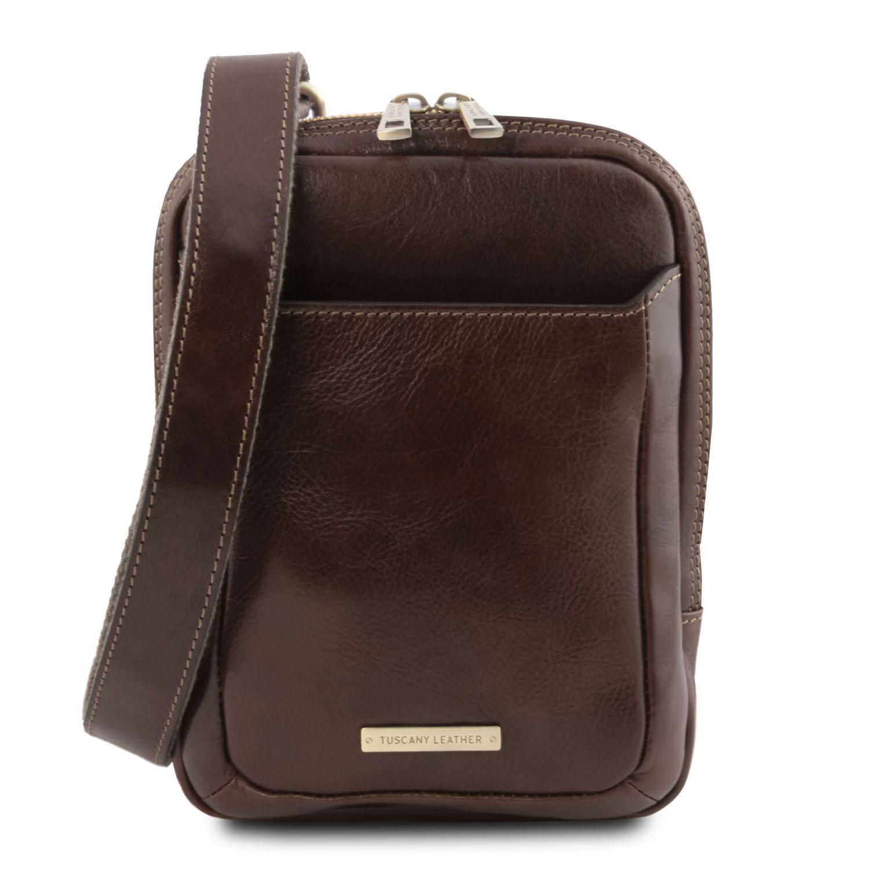 Mark - Kožená crossbody kabelka - Tmavě hnědá barva