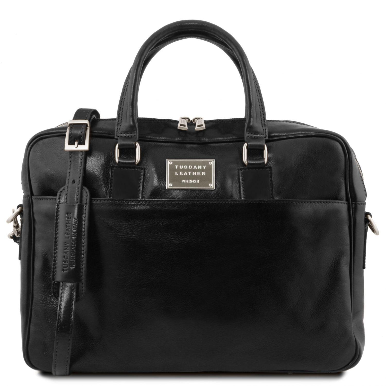 Urbino - Kožená aktovka na notebook se 2 přihrádkami a přední kapsou - Černá barva