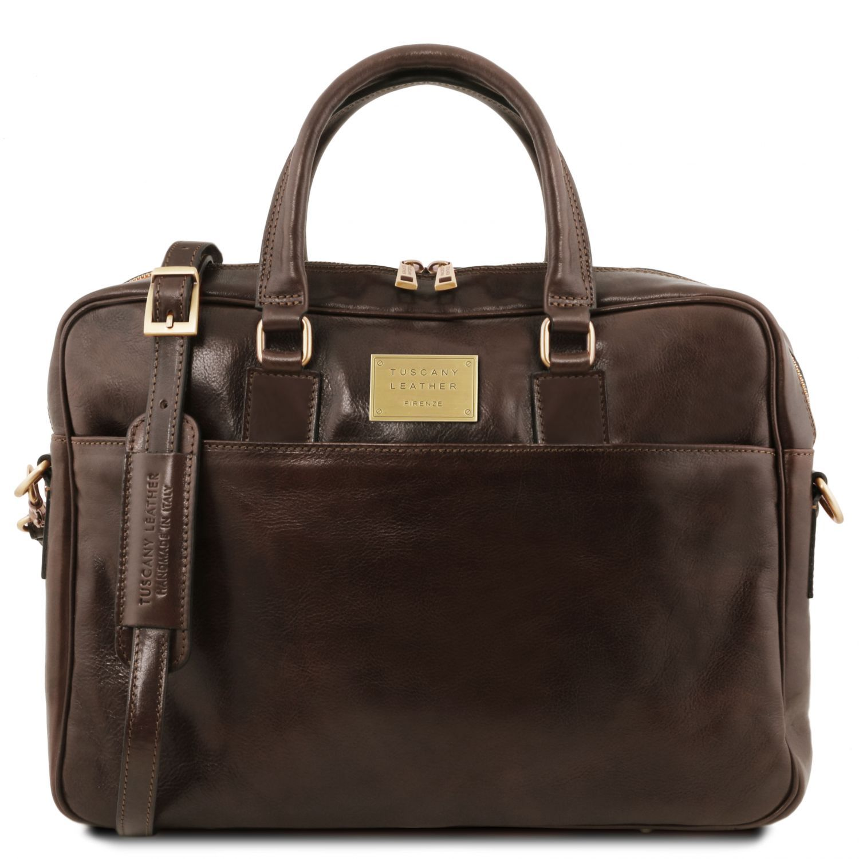Urbino - Kožená aktovka na notebook se 2 přihrádkami a přední kapsou - Tmavě hnědá barva