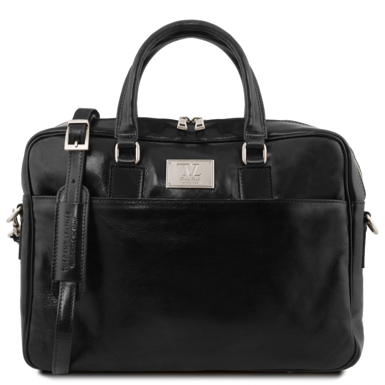 Urbino - Kožená aktovka na notebook s přední kapsou - Černá barva