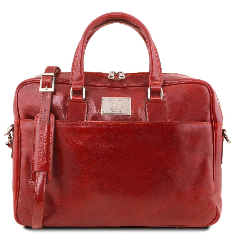 Urbino - Kožená aktovka na notebook s přední kapsou - Červená barva