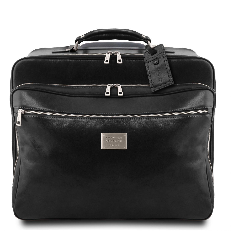 Varsavia - Kožený pilotní kufr na dvou kolečkách - Černá barva