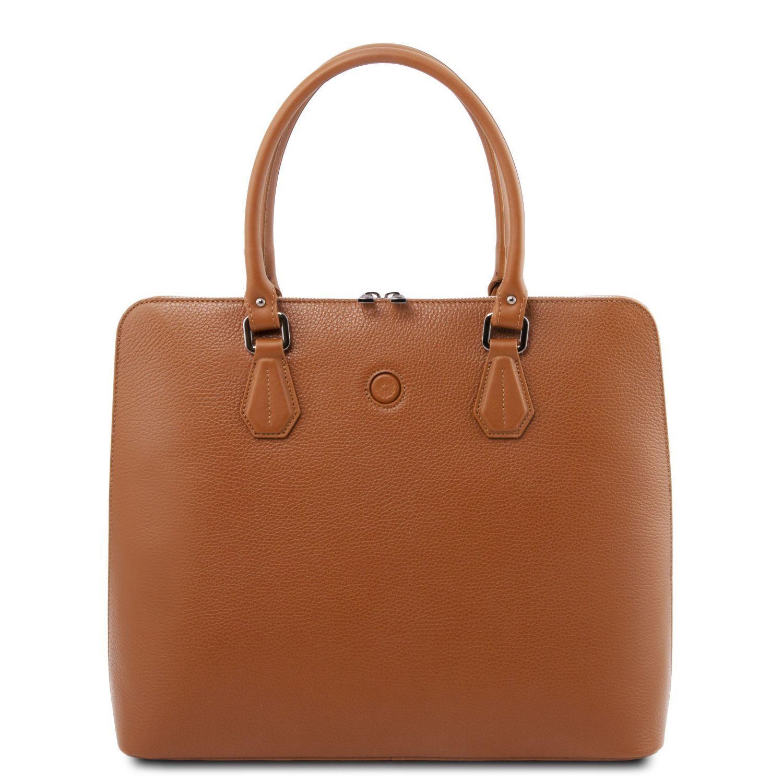 Magnolia - Kožená dámská obchodní taška - Koňaková barva
