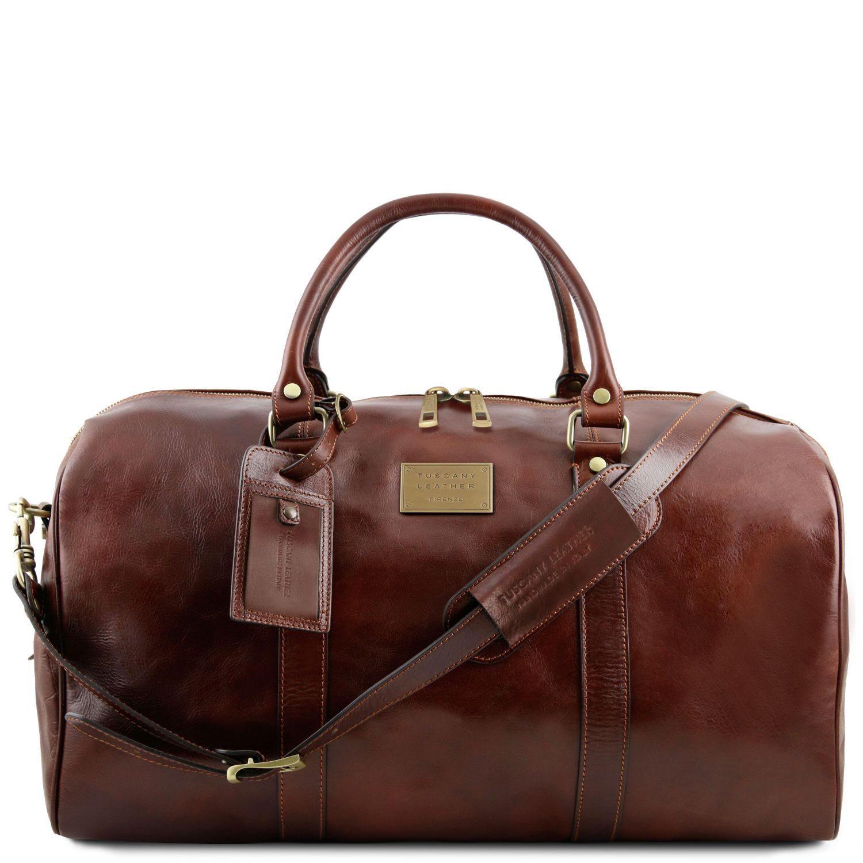 """TL Voyager - Cestovní kožená """"duffle"""" taška s kapsou na zadní straně - velká - Hnědá barva"""