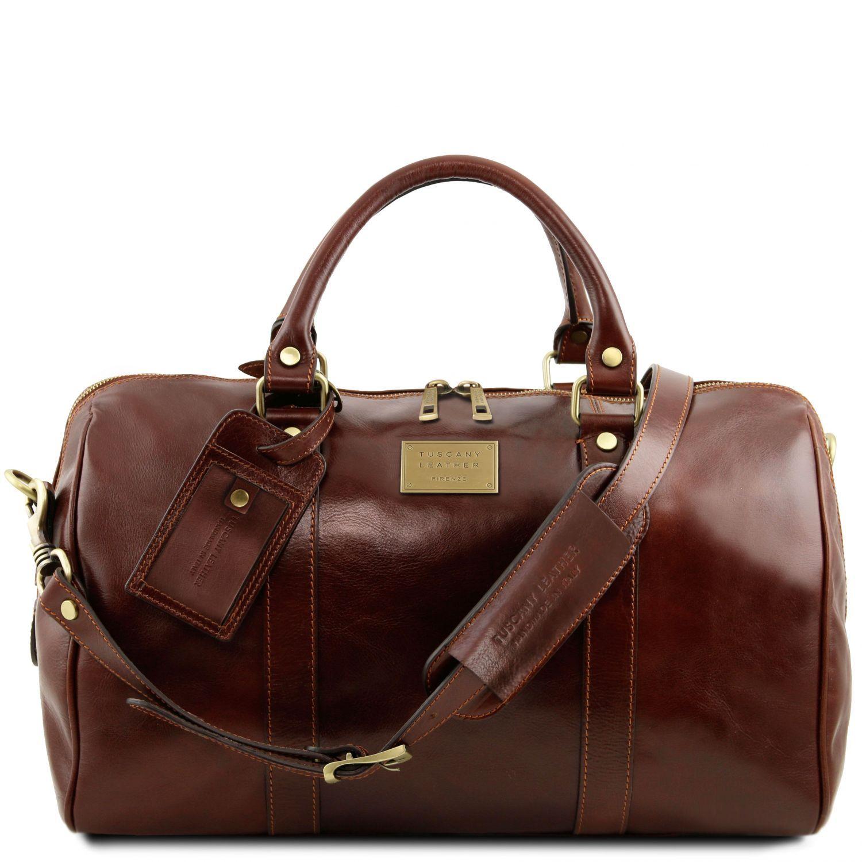 """TL Voyager - Cestovní kožená """"duffle"""" taška s kapsou na zadní straně - malá - Hnědá barva"""